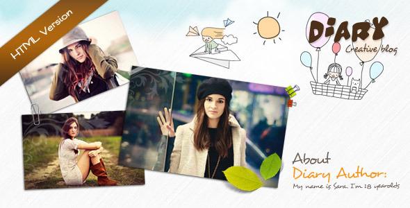 Diary - Responsive Blog HTML Theme Template Creative
