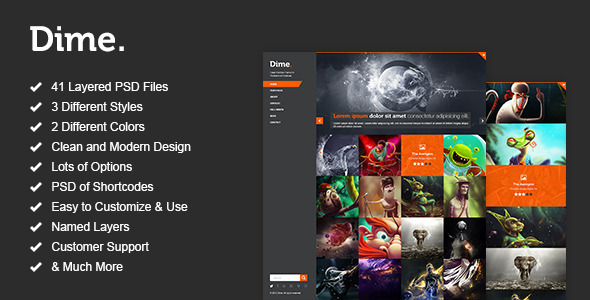 Dime - Agency / Business Portfolio PSD Template Creative
