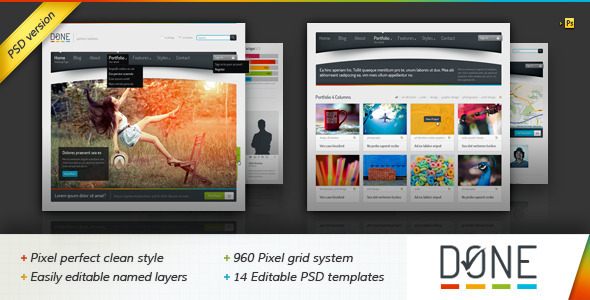 Done - Portfolio & Blog PSD Template Creative