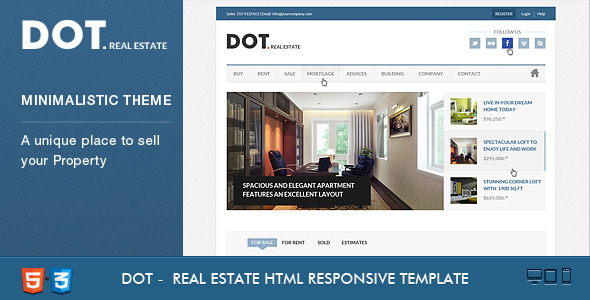 Dot Real Estate HTML5 & CSS3 Template Corporate