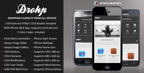 Drohp Mobile Retina   HTML5 & CSS3 And iWebApp Template