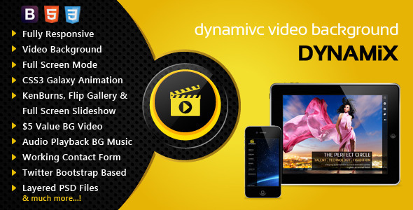 Dynamix Responsive Full Screen Background Theme Template
