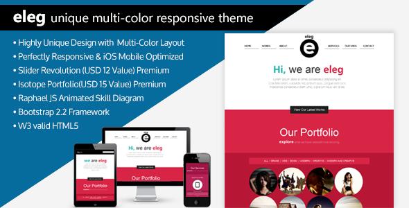 ELEG - Unique Multi-Color Responsive HTML5 Theme Template