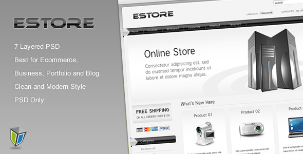 EStore - PSD Template for Ecommerce Technology PSDTemplates