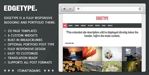 Edgetype Responsive Blog + Portfolio Theme WordPress Blog/Magazine