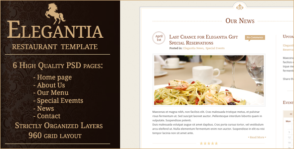 Elegantia Restaurant PSD Template Entertainment PSDTemplates