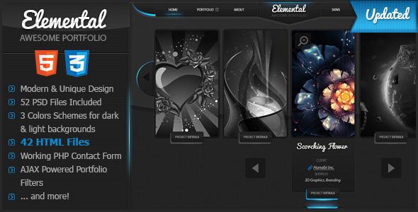Elemental - Uniquely Designed HTML Template Creative