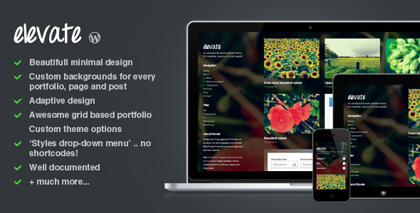 Elevate: Background Oriented Portfolio WP Theme WordPress