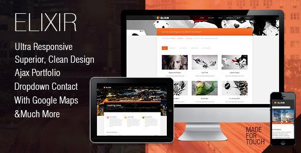 Elixir superior CSS 3 animated HTML theme Template Creative