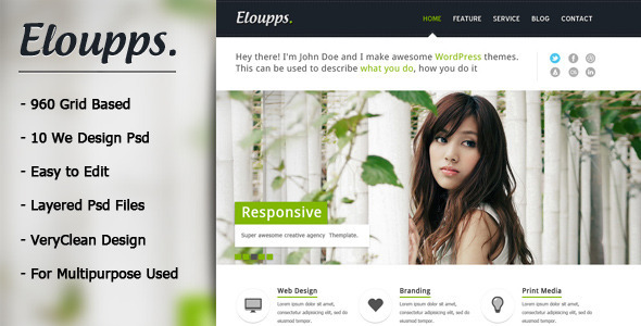 Eloupps: Agency / Corporate Business Theme PSD Corporate