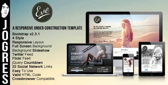 Eve - Responsive Underconstruction Theme Template Specialty Page