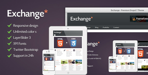 Exchange - HTML5 & CSS3 Corporate Drupal Theme Corporate