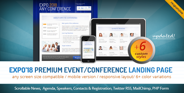 Expo'18 Responsive Event/ Conference Landing Page LandingPages