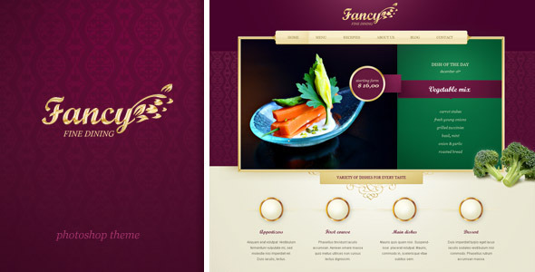 Fancy -  website for upscale and fancy restaurant PSD