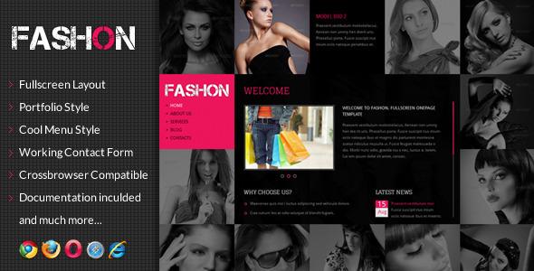 Fashon - Fullscreen Onepage Portfolio Template Creative