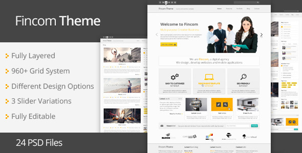 Fincom – Business PSD Template Corporate