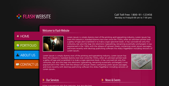 Flash Website Template Creative PSDTemplates