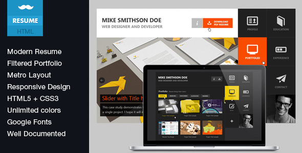 Flat Resume - Virtual Business Card HTML Template Specialty Page
