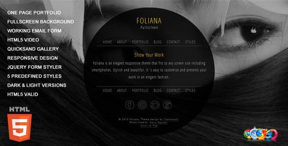 Foliana - One Page Responsive Portfolio Template Creative