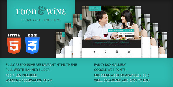 Food & Wine - HTML Responsive Theme Template Entertainment