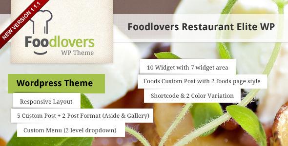 Foodlovers Restaurant Elite WP WordPress Entertainment