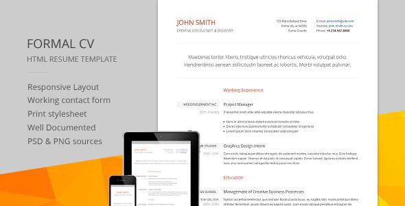 Formal CV - Responsive CV / RESUME HTML Template Specialty Page