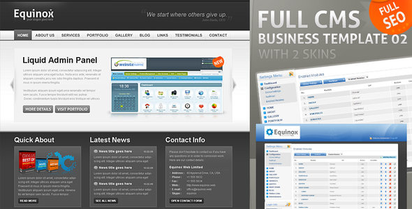 Full CMS Business Template with 2 Skins