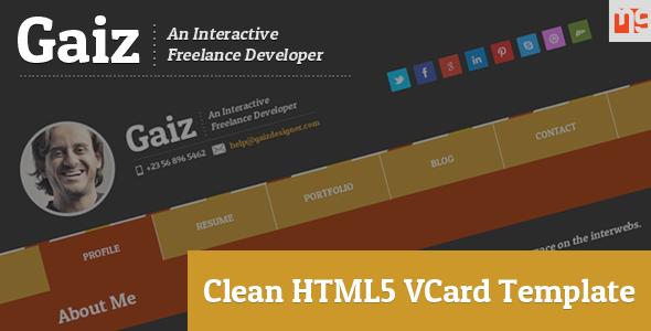Gaiz Clean Horizontal Scrolling Responsive Vcard Template