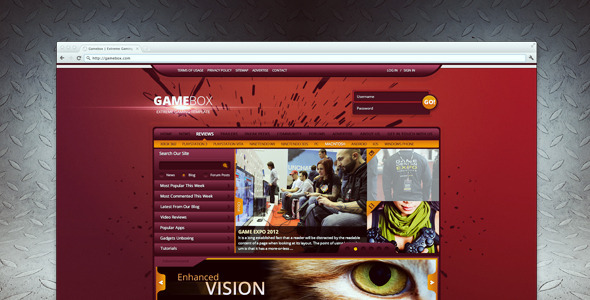 Gamebox - Xtreme Gaming PSD Template Creative