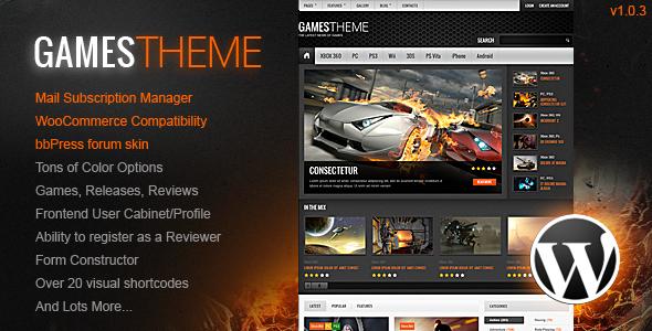 GamesTheme Premium WordPress Theme Entertainment