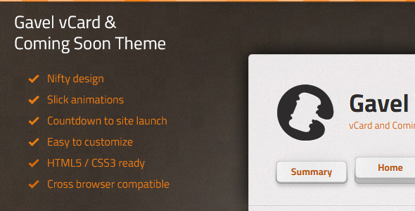 Gavel vCard & Coming Soon Theme Template Personal