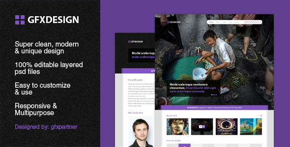 GfxDesign Unique & Creative PSD Template Creative