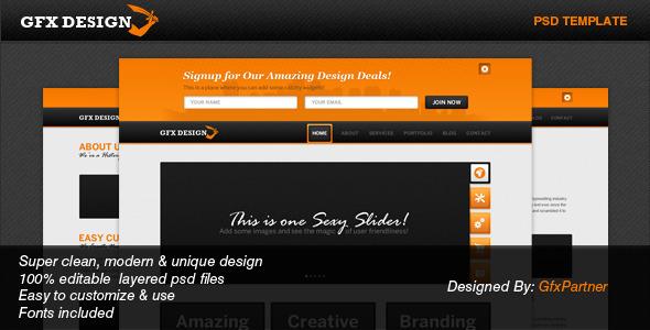 GfxDesign Unique & Creative PSD Template Creative PSDTemplates