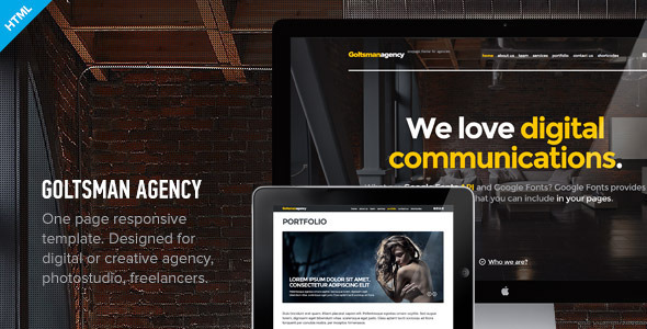 Goltsman Agency - One Page Responsive Template Creative