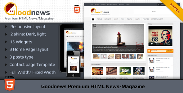 Goodnews Premium HTML News/Magazine Template Creative