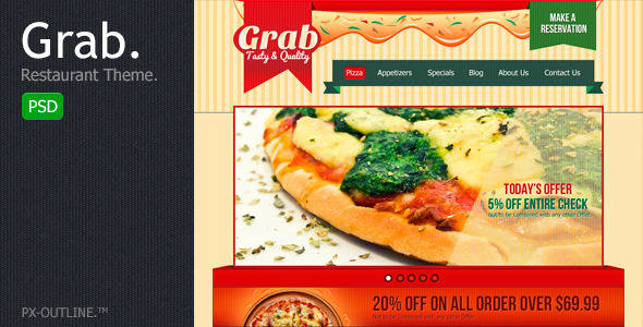 Grab Restaurant Theme Template PSD Entertainment