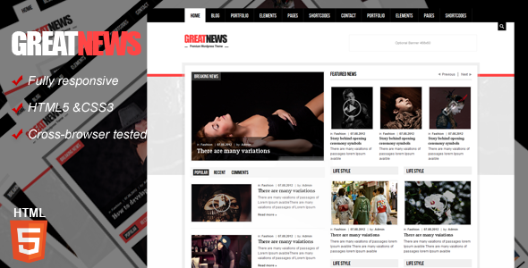 Great News Magazine Responsive Template Corporate
