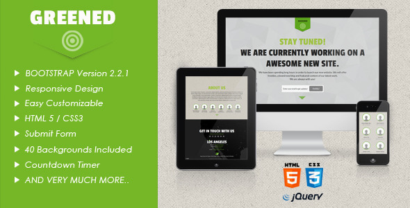 Greened - Bootstrap Coming Soon Page Template Specialty Page