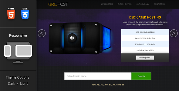 GridHost Hosting Theme Template Technology