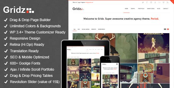 Gridz - Creative Agency Retina Ready WP Theme WordPress Creative