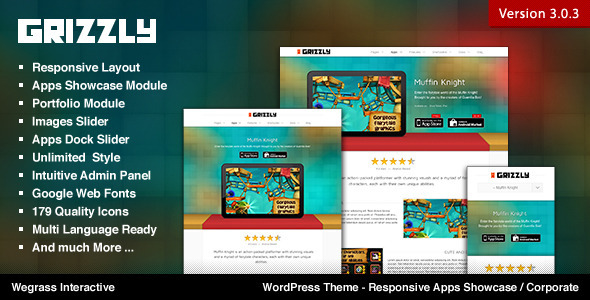 Grizzly - Responsive App Showcase / Corporate WordPress Technology