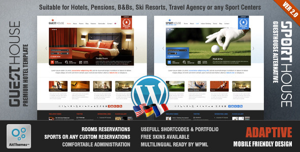 Guesthouse - Hotel & Sport Center 2in1 Premium Theme WordPress