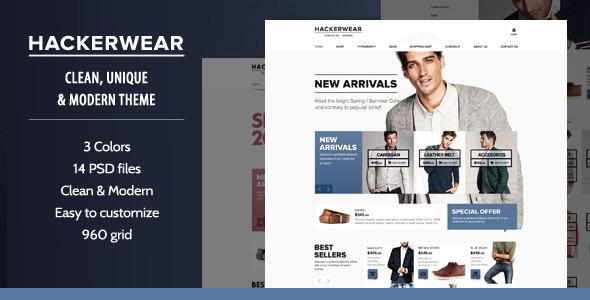 Hackerwear   OpenCart PSD Theme Retail