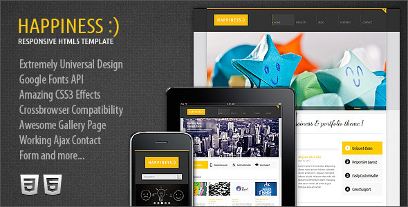 Happiness Responsive Premium HTML5/CSS3 Template Corporate