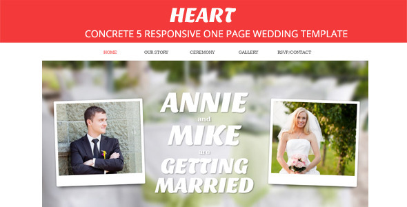 Heart - Concrete5 One Page Wedding Theme Entertainment
