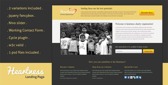 Heartness - Fundraising / Donation Landing Page LandingPages
