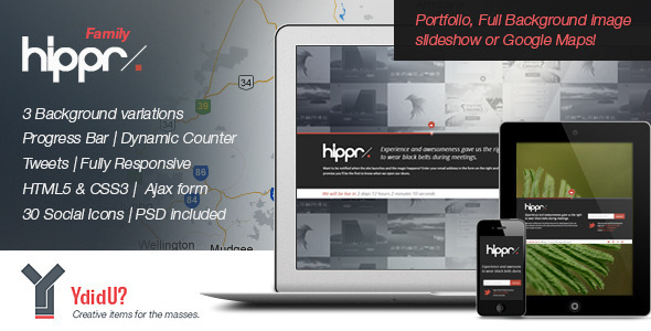 Hippr :: Responsive Coming Soon Page Template Specialty Page
