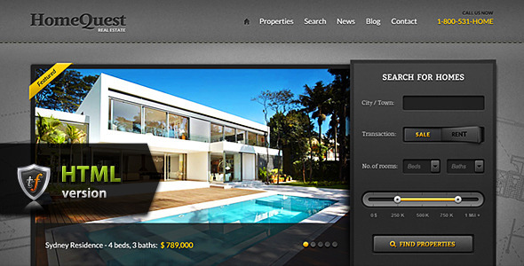 HomeQuest - Real Estate HTML Theme Template Corporate