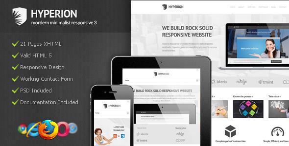 Hyperion - Modern Minimalist Responsive 3 Template Corporate