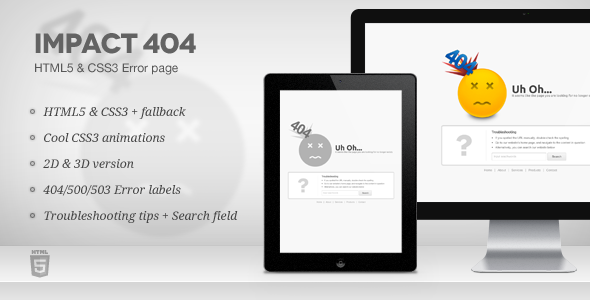 Impact 404 - HTML5 & CSS3 Error page Template Specialty Page